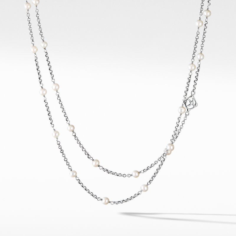David Yurman Cable Collectibles Bead and Chain Necklace with Pearls