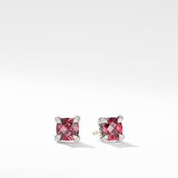 Chatelaine® Stud Earrings with Rhodalite Garnet and Diamonds