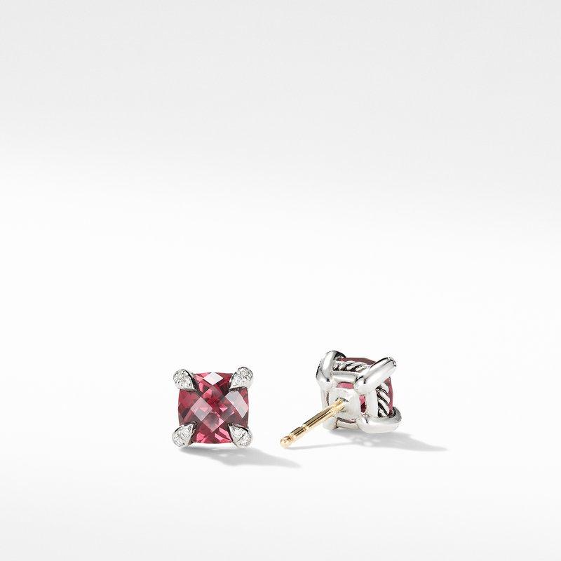 David Yurman Chatelaine® Stud Earrings with Rhodalite Garnet and Diamonds