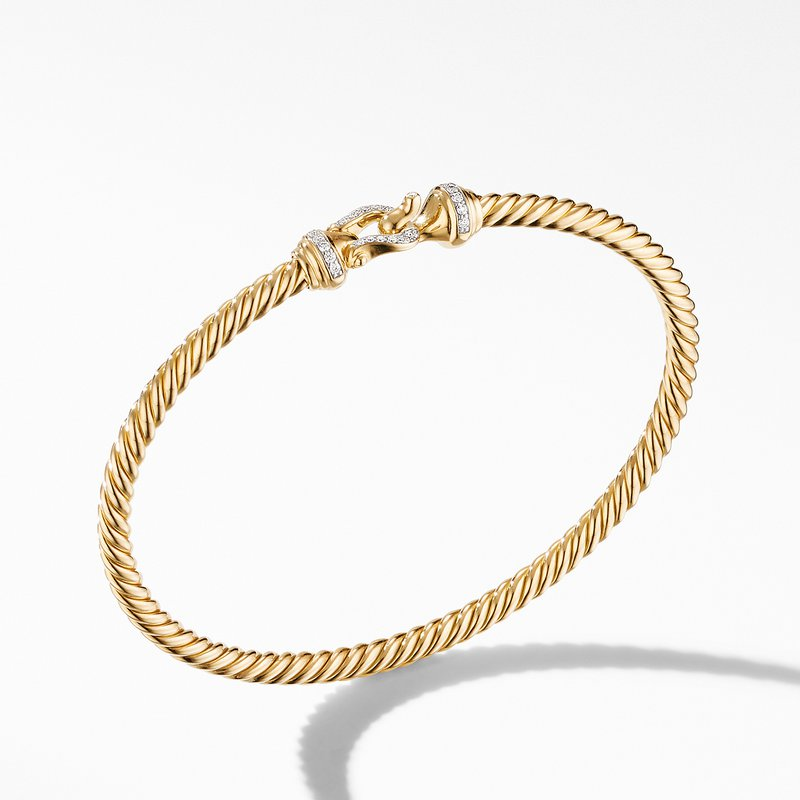 David Yurman Cable Buckle Collection® Bracelet in 18K Yellow Gold with Diamonds