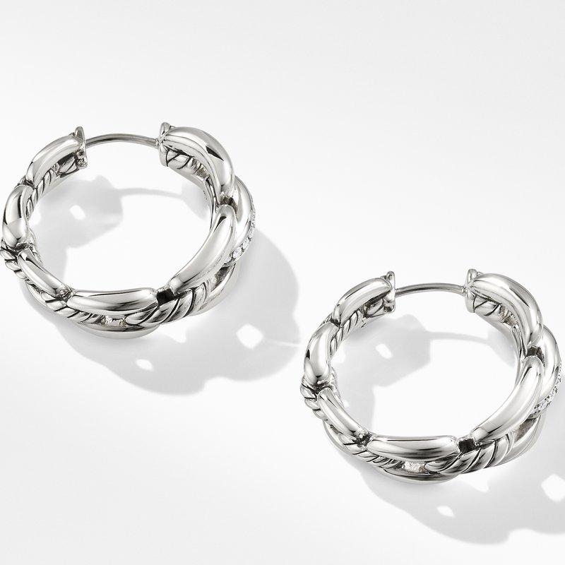 David Yurman Wellesley Hoop Earrings with Diamonds, 23mm