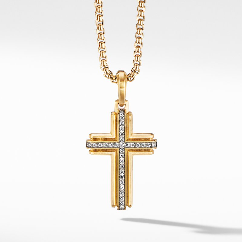 David Yurman Deco Cross Pendant in 18K Yellow Gold with Pavé Diamonds