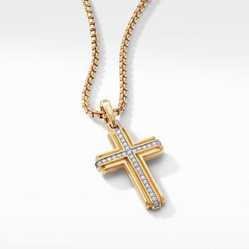 Deco Cross Pendant in 18K Yellow Gold with Pavé Diamonds