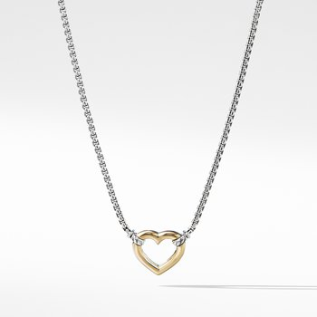 Heart Station Necklace with 18K Gold