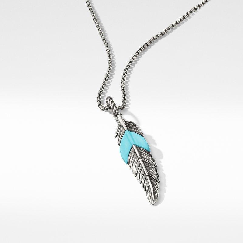 David Yurman Feather Amulet with Turquoise