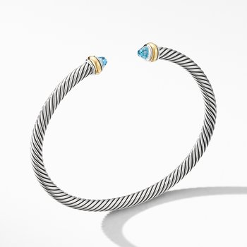 Cable Classic Bracelet with Blue Topaz and 18K Yellow Gold