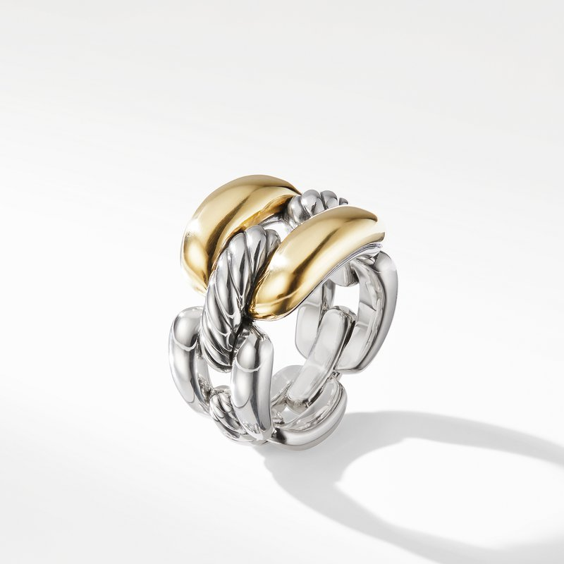 David Yurman Wellesley Link Large Chain Link Ring with 18K Gold
