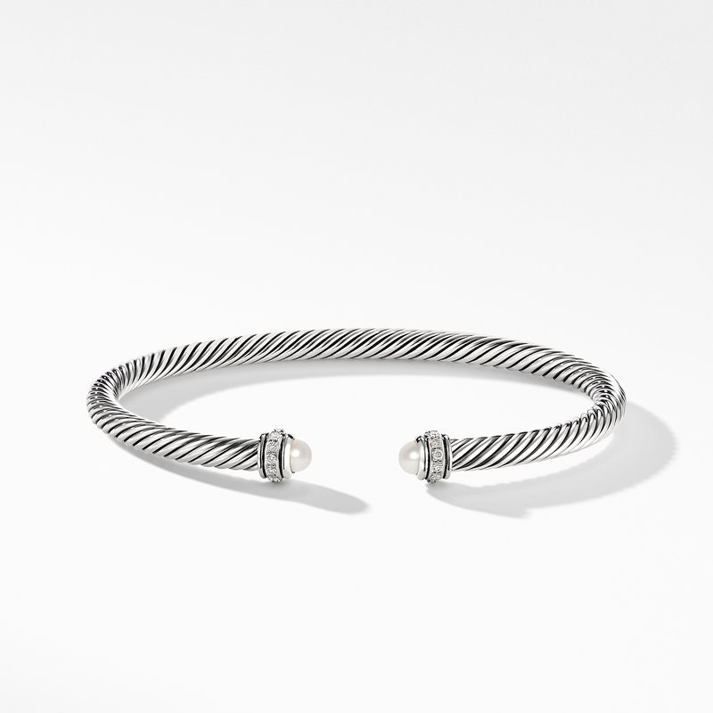 David Yurman Cable Classic Bracelet with Pearls and Diamonds