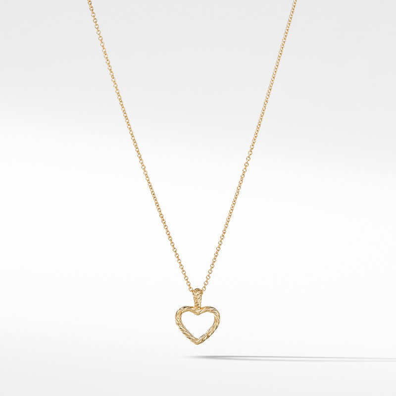 David Yurman Cable Collectibles Heart Pendant with Diamonds in Gold on Chain