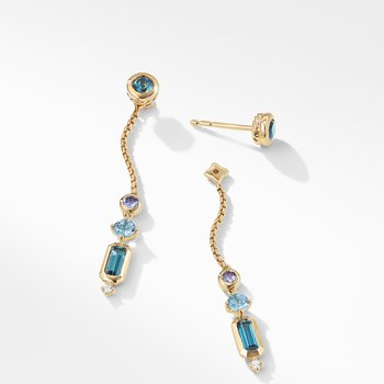 Novella Drop Earrings in Hampton Blue Topaz and Aquamarine with Diamonds