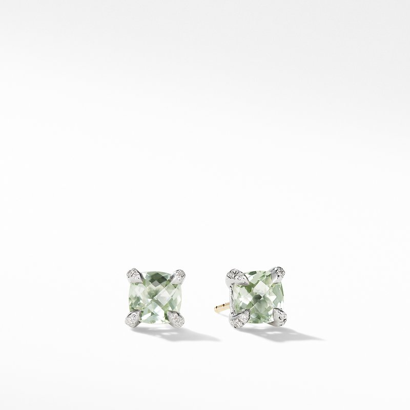 David Yurman Chatelaine® Stud Earrings with Prasiolite and Diamonds