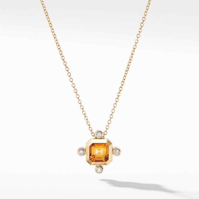 David Yurman Novella Pendant Necklace in 18K Yellow Gold Madeira Citrine with Diamonds