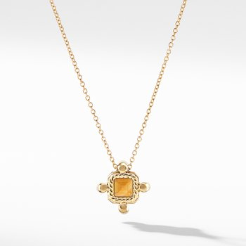 Novella Pendant Necklace in 18K Yellow Gold Madeira Citrine with Diamonds
