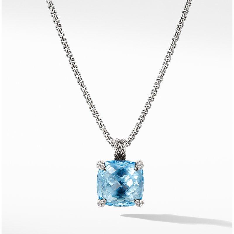 David Yurman Chatelaine® Pendant Necklace with Blue Topaz and Diamonds 1
