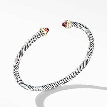 Cable Classic Bracelet with Garnet and 18K Yellow Gold