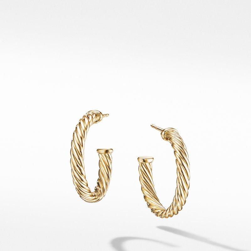 David Yurman Small Cablespira Hoop Earrings in 18K Yellow Gold