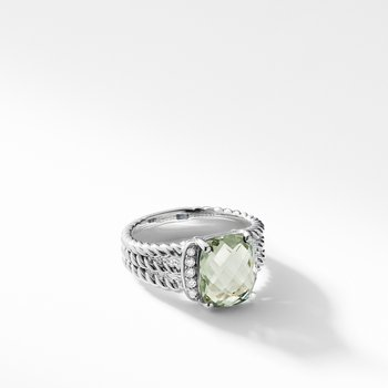 Petite Wheaton® Ring with Prasiolite and Diamonds