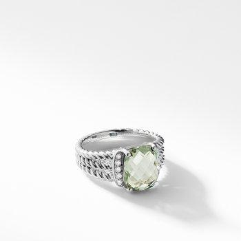 Petite Wheaton® Ring with Prasiolite and Diamonds