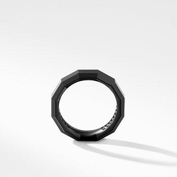 Faceted Band Ring in Black Titanium