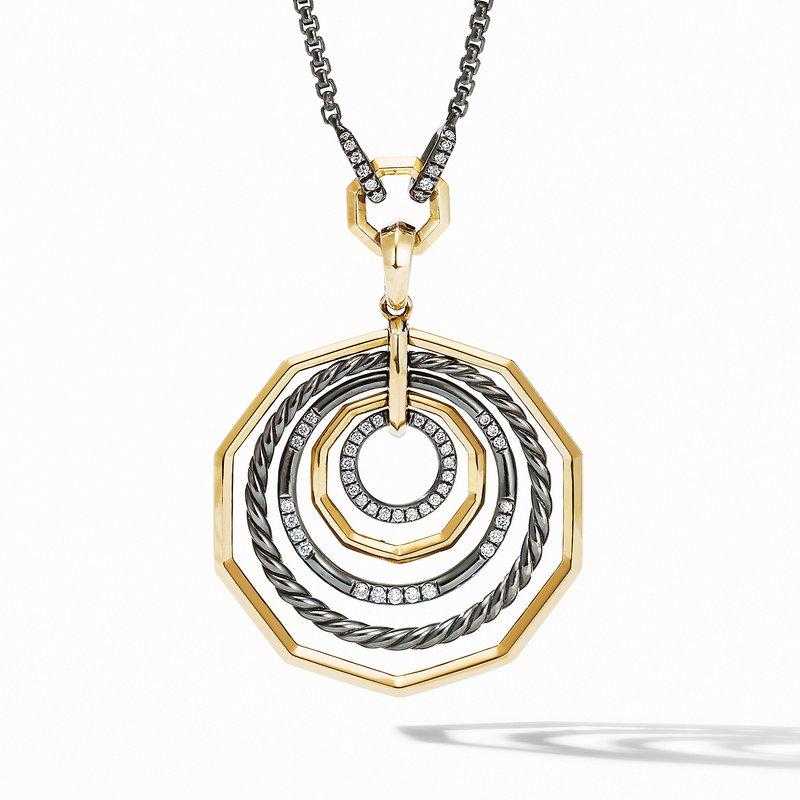 David Yurman Stax Black and Gold Medium Pendant Necklace with Diamonds
