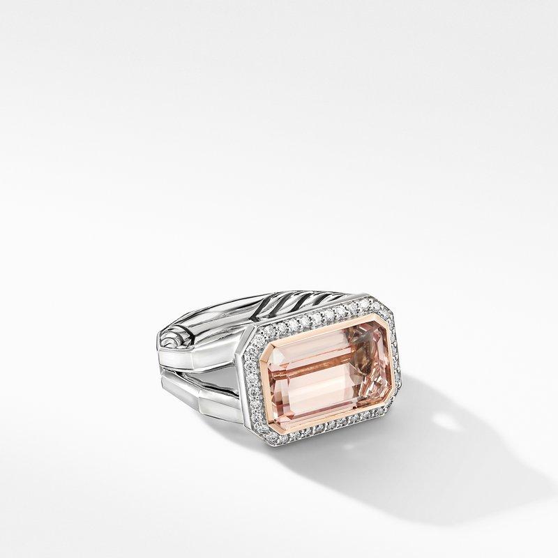 David Yurman Novella Statement Ring with Morganite, Pavé Diamonds and 18K Rose Gold