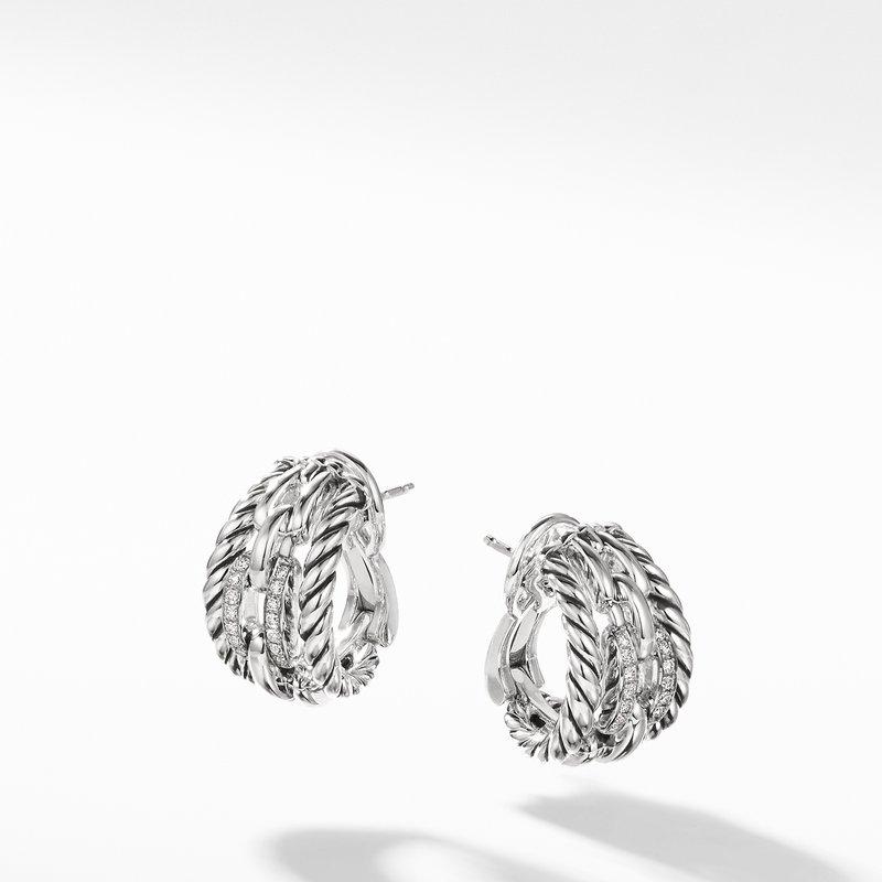 David Yurman Wellesley Link Hoop Earrings with Diamonds