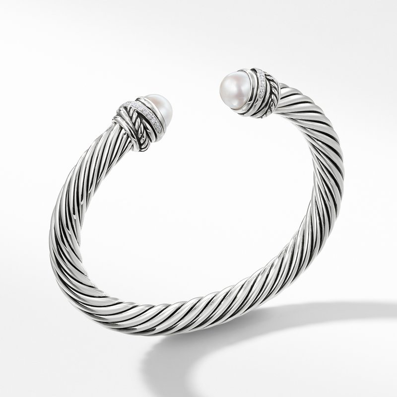 David Yurman Cable Classic Crossover Bracelet with Pearls and Diamonds
