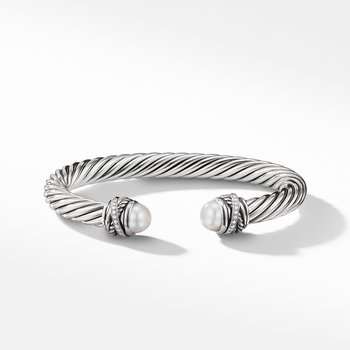 Cable Classic Crossover Bracelet with Pearls and Diamonds