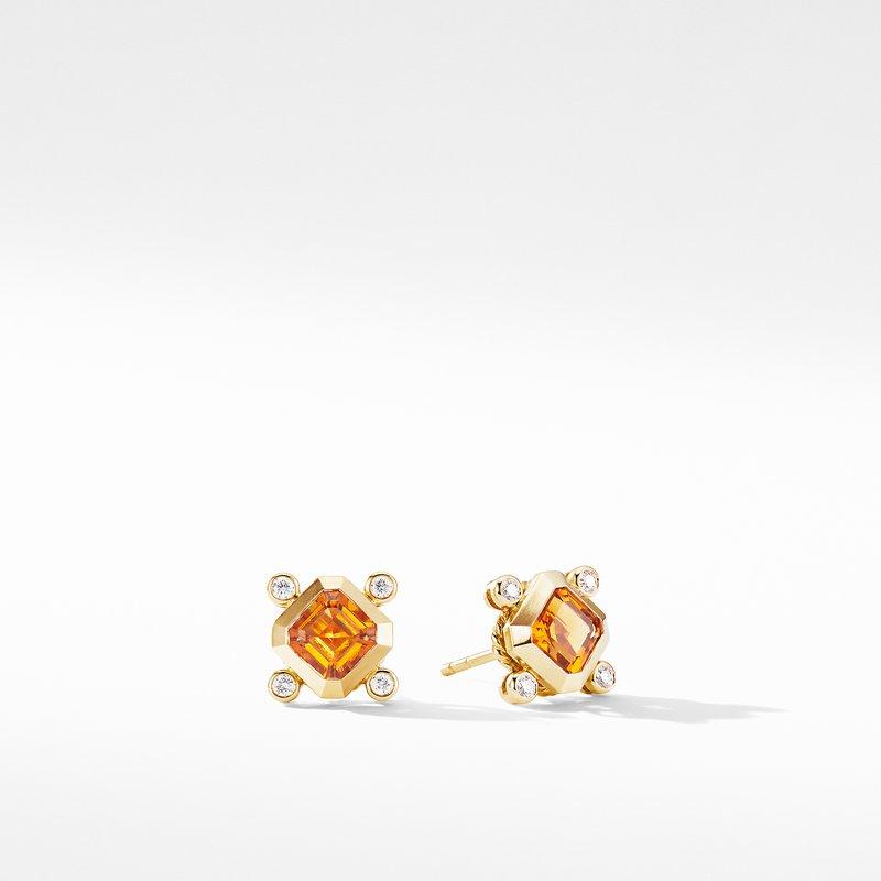 David Yurman Novella Stud Earrings in 18K Yellow Gold with Madeira Citrine and Diamonds