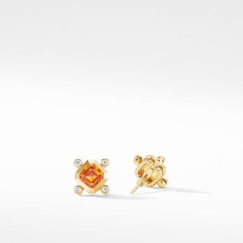 Novella Stud Earrings in 18K Yellow Gold with Madeira Citrine and Diamonds