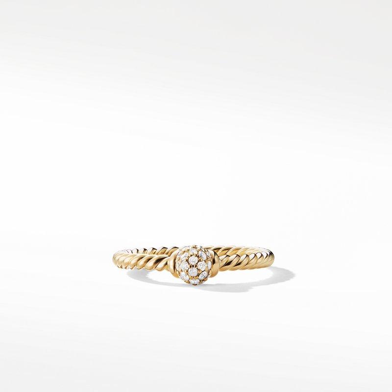 David Yurman Petite Solari Station Ring with Diamonds in 18K Gold