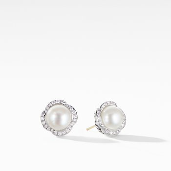 Continuance® Pearl Button Earrings with Diamonds