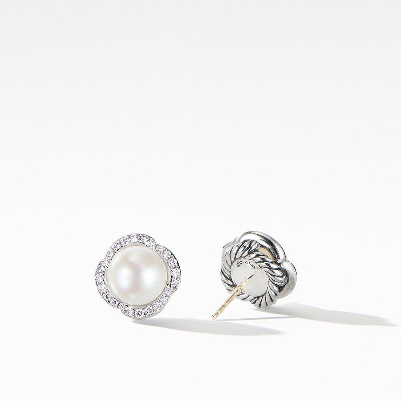 David Yurman Continuance® Pearl Button Earrings with Diamonds