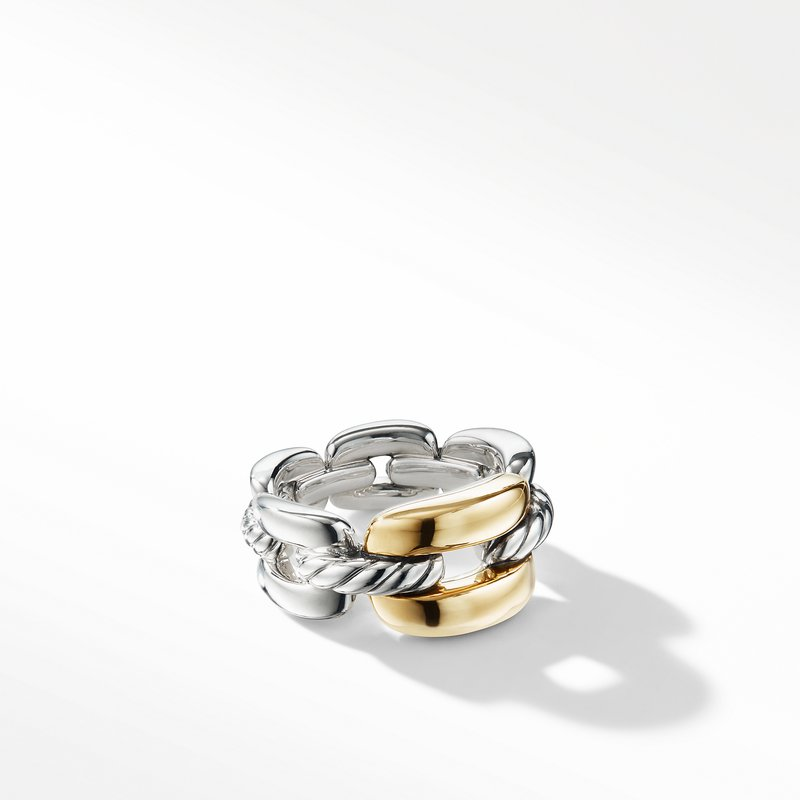 David Yurman Wellesley Link Medium Chain Link Ring with 18K Gold