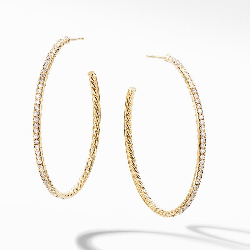 David Yurman Large Hoop Earrings in 18K Yellow Gold with Pavé Diamonds