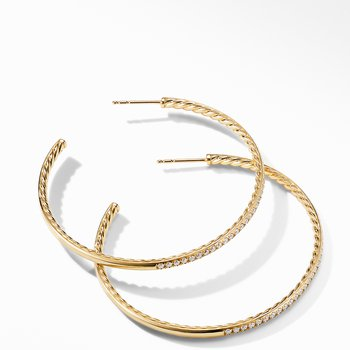 Large Hoop Earrings in 18K Yellow Gold with Pavé Diamonds