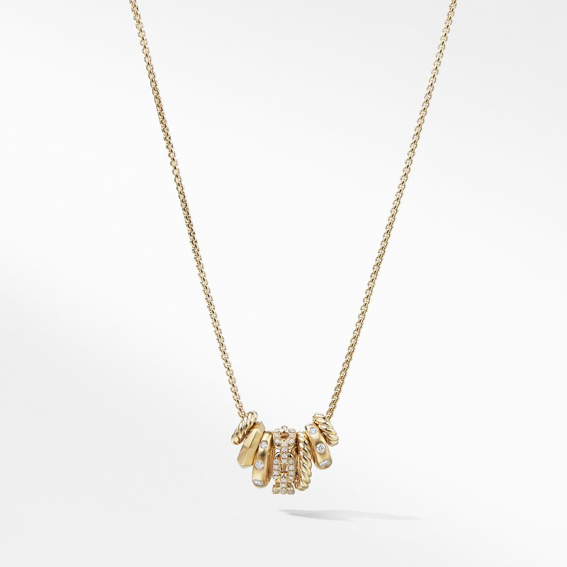 David Yurman Stax Rondelle Pendant Necklace with Diamonds in 18K Gold