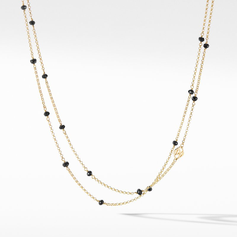 David Yurman Cable Collectibles® Bead and Chain Necklace in 18K Yellow Gold with Black Spinels