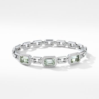 Novella Three Stone Bracelet with Prasiolite and Pavé Diamonds