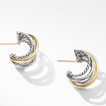 Crossover Huggie Hoop Earrings with 18K Yellow Gold