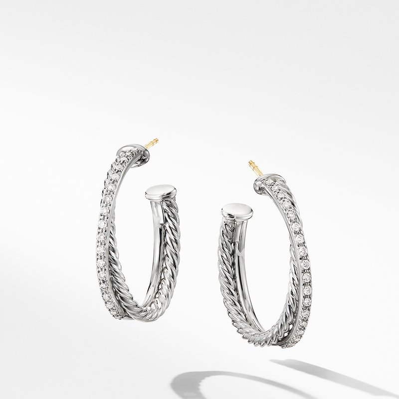David Yurman The Crossover Collection® Medium Hoop Earrings with Diamonds