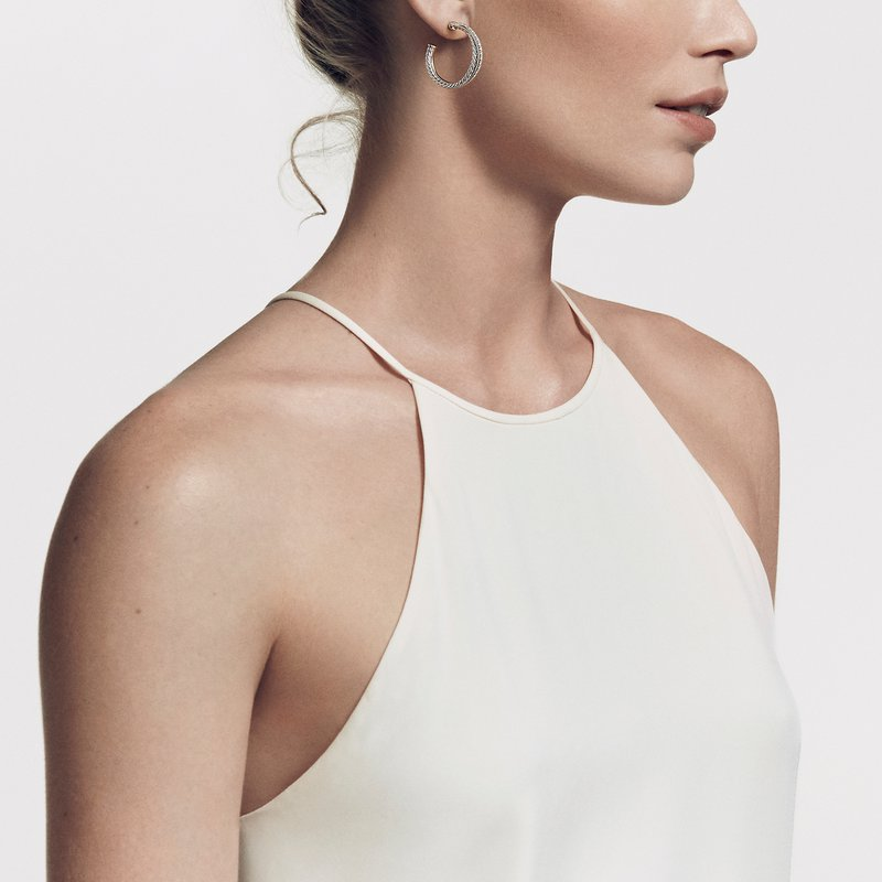 David Yurman The Crossover Collection® Medium Hoop Earrings with Diamonds
