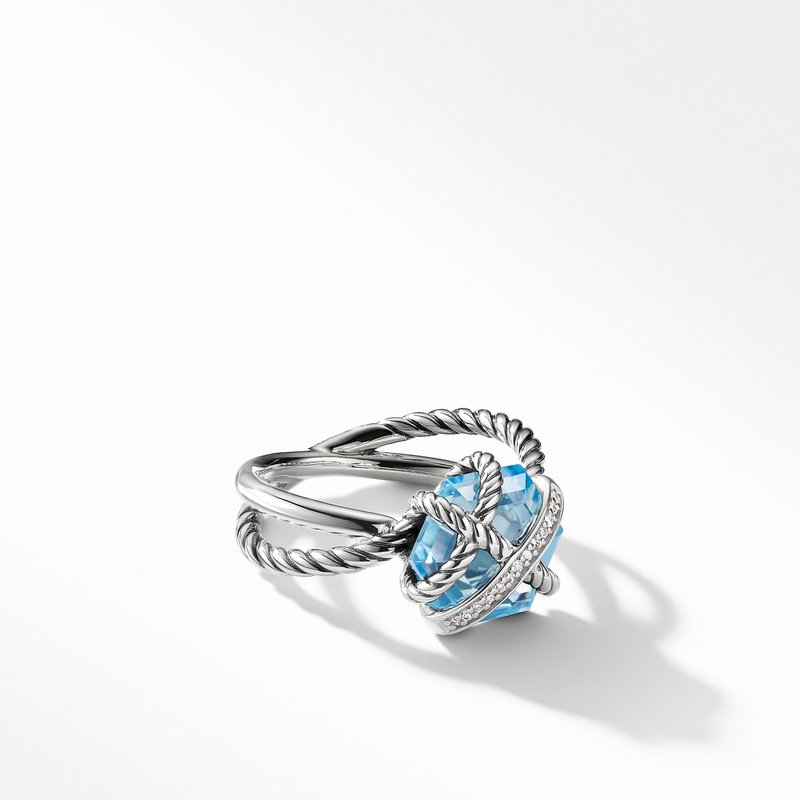 David Yurman Cable Wrap Ring with Blue Topaz and Diamonds