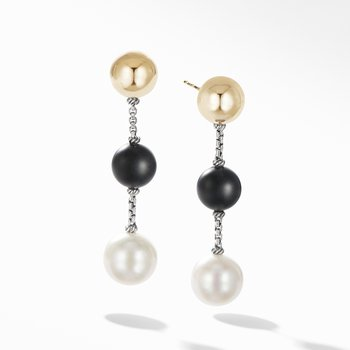 Solari XL Chain Drop Earrings with Pearl, Matte Black Onyx and 14K Yellow Gold