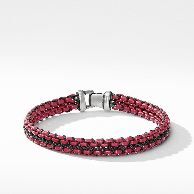 David Yurman Woven Box Chain Bracelet in Burgundy