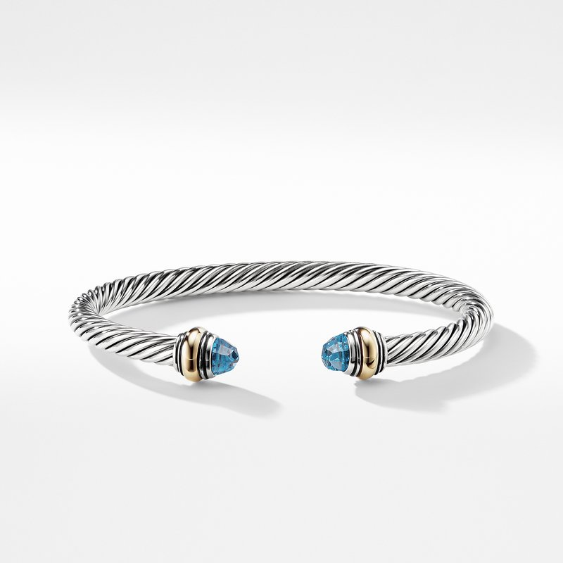 David Yurman Cable Classic Bracelet with Blue Topaz and Gold