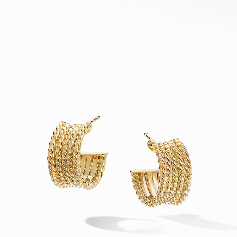 David Yurman DY Origami Cable Huggie Hoops in 18K Yellow Gold