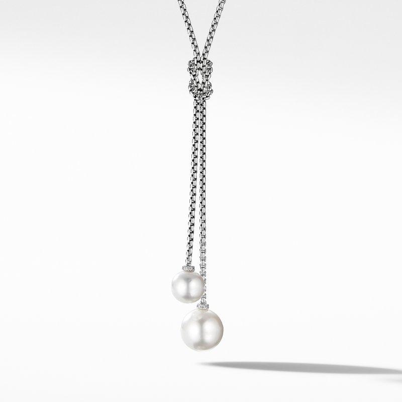 David Yurman Solari Knot Necklace with Pearls and Pavé Diamonds