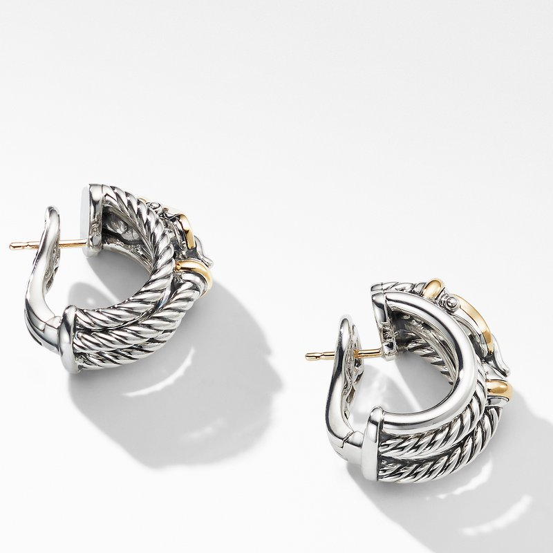David Yurman Buckle Shrimp Earrings with 18K Yellow Gold