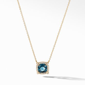 Petite Chatelaine® Pavé Bezel Pendant Necklace in 18K Yellow Gold with Hampton Blue Topaz